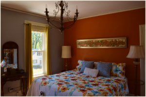 Photo of new bedding in the Angela Suite