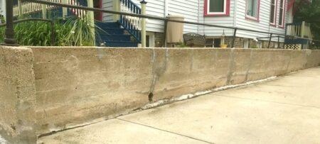 long low concrete wall